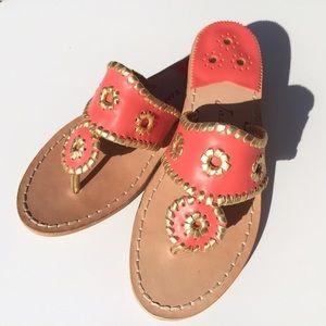 Jack Rogers Coral & Gold Navajo Sandals